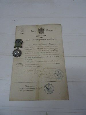 dossier  diplome et medaille de crimee second  empire