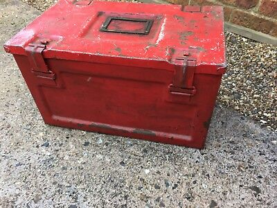 Old Vintage Red Metal Ammo Box