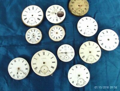 job lot  of 12 vintage /antique pocket watches movements and faces for spares