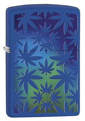 Zippo Lighter: Weed Leaves - Royal Blue Matte 79443
