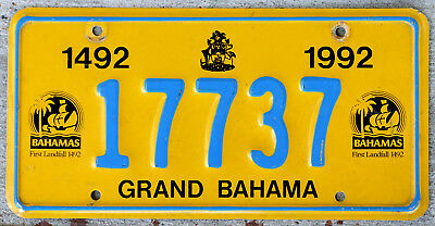"Bahamas 1492 - 1992 ""First Landfall"" Commemorative License Plate GRAND BAHAMA"