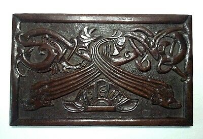 Antique Hand Carved Arts And Crafts Oak Plaque In High Relief, Dated 1903 &fish