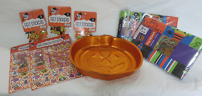 Lot Of Halloween Party Items Wilton Pumpkin Cake Pan Stickers Vinyl Tableclothes