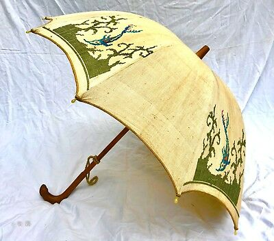Beautiful Antique Parasol - Cross Stitch Embroidered With Mouse Carved Handle