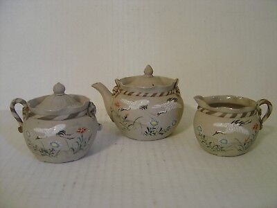 Antique Japanese Banko Ware Pottery Pentagram Three Piece Teapot Set With Cranes