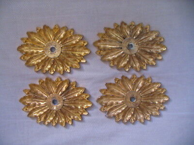 Set of 4 Vintage Brass Drawer Furniture Backplates Medallion Heavy Gold Tone