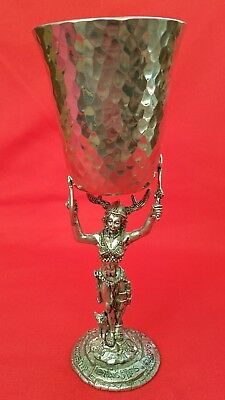Fellowship Foundry Valkyrie / Lady Viking Pewter Goblet w/ Hammered Cup Rare!