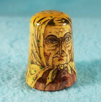 Old Russian Woman Fedorya Wooden Thimble - Signed BHA - Hand Crafted Linden Wood