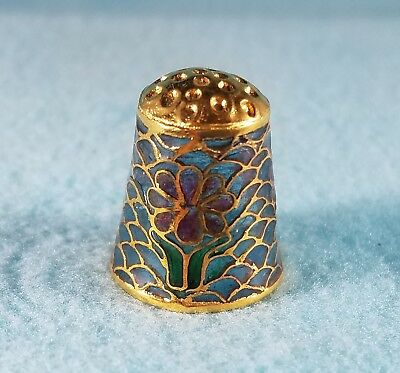 Plique au Jour Light of Day Faux Stained Glass Thimble w/ Gold Dome