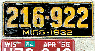 1932 Orange on Black Mississippi License Plate in Decent Shape