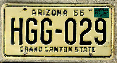 1966 Black on White Arizona License Plate with a 1967 Sticker
