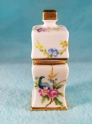 HOUSE OF ASHLEY Peacock and Floral Porcelain Needle Holder or Trinket Box