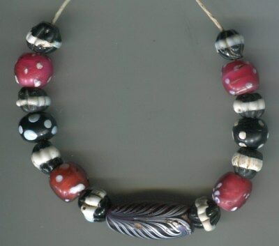 African Trade beads Vintage Venetian glass beads old red black skunk feather