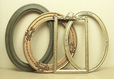 """4 Vintage Picture Frames Painted Wood Oval Rectangular Shabbily Chic 22"""" - 24"""""""