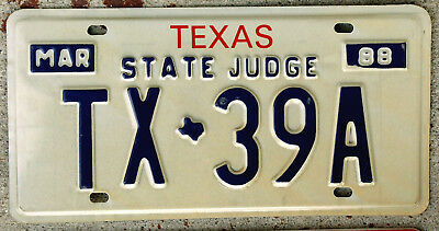 1988 Red White and Blue Texas STATE JUDGE Personal Car License Plate