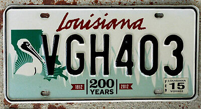 "Louisiana Bicentennial ""200 Years"" License Plate with the Large Brown Pelican"
