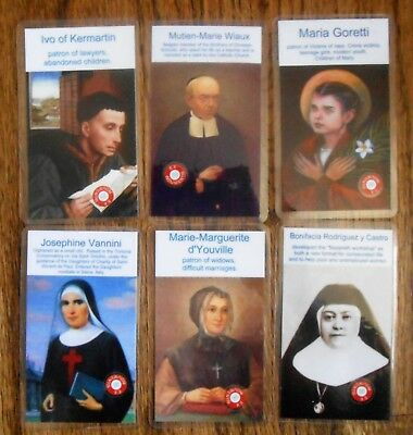 Third Class Catholic Relic Cards- Six Unusual Saint Cards. Don't See Every Day!