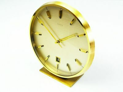 Rare Later Art Deco Bauhaus Brass Desk Clock  Kienzle Automatic Everdate