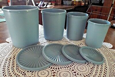 Tupperware Country Blue Nesting Servalier Canisters with Lids Set of 4