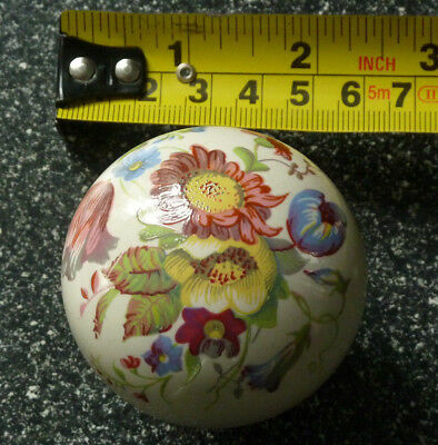 Victorian White Solid Ceramic Centre Door Knob Pull Handle- Hand Paint Floral 01