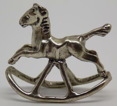 Vintage Solid Silver Italian Made Rocking Horse Miniature, Figurine, Stamped*