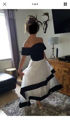 Coast Dress Size 8 Black And White Wedding / Racing Outfit