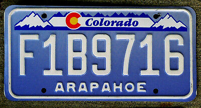 """Blue and White Colorado License Plate with the Red and Yellow """"C"""" Arapahoe"""