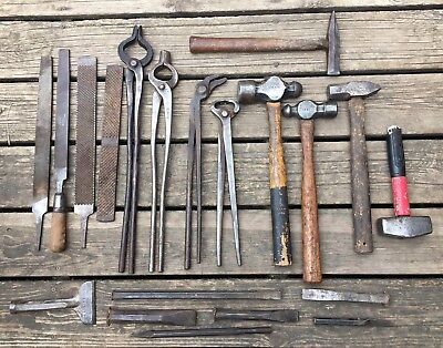 Old Used Vintage Tools Blacksmith Tinsmith, Tongs, Hammers, Files Chisel Antique