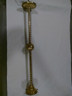 Vintage Art Deco or Victorian brass pendant ceiling light fixture w/o shade