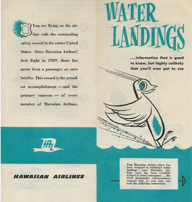 Vintage Hawaiian Airlines Water Landings CAA Advertising Souvenir Brochure