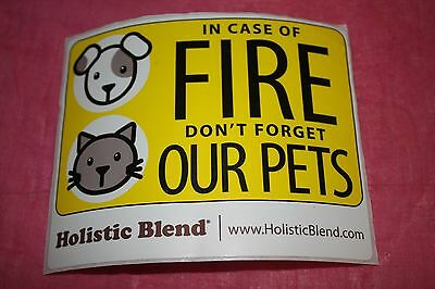 Set Of 2.  In Case Of Fire Don't Forget Our Pets Stickers.free N. Amer. Shipping