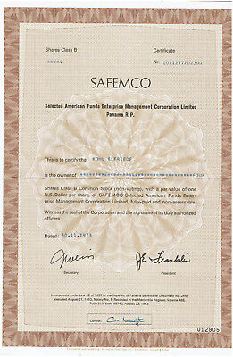 historisches Wertpapier -  Panama - SAFEMCO Selected American Funds Enterprise M