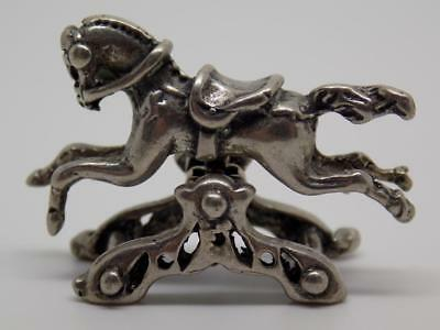 Vintage Solid Silver Italian Made Rocking Toy Horse Miniature, Figurine, Stamp*