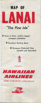 "Vintage Hawaiian Airlines Souvenir Advertising Lanai Hawaii Map ""The Pine Isle"""