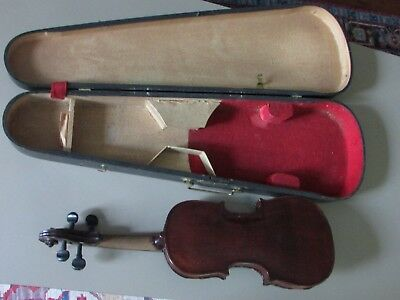 1800's vintage violin and black wooden coffin case w/bow