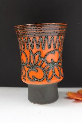 STREHLA Keramik VintageVase 60sDDR East German Pottery Fat Lava Orange