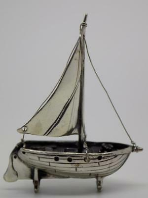 Vintage Solid Silver Italian Made Sailing Boat Miniature, Figurine, Stamped