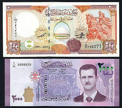 TWO BILLS 2000 SYRIAN POUNDS 2015/17 & 200 Livres Syriennes 1997 Syria Syrie UNC