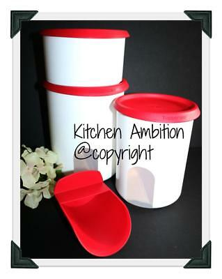 NEW TUPPERWARE Modular One Touch Reminder Canister Set W/Topper 5&8 Cup Red CA9