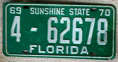 1969 - 1970 White on Green Florida License Plate