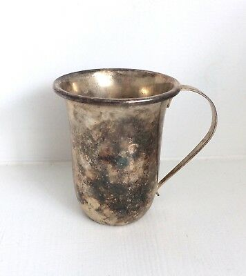Vintage SMALL SILVER-PLATED CUP / GOBLET with SLIM ROUNDED HANDLE Lovely Piece!