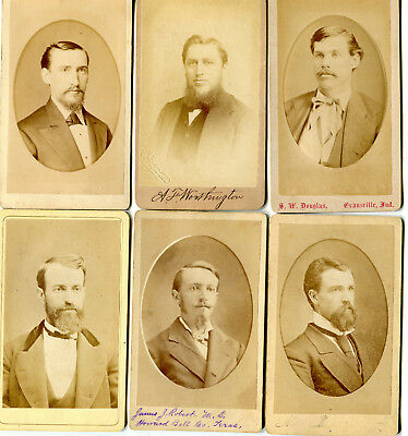 Lot of 6 CDV Photographs - Handsome Men w Neat Grooming - Beards Hair Mustaches
