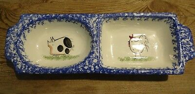Vintage Molly Dallas Spatter Ware Blue Rooster & Pig Relish Divided Serving Dish