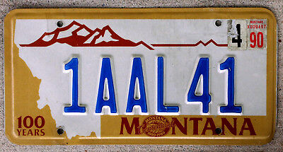 "Montana Centennial License Plate ""100 Years"" with a 1990 Sticker"