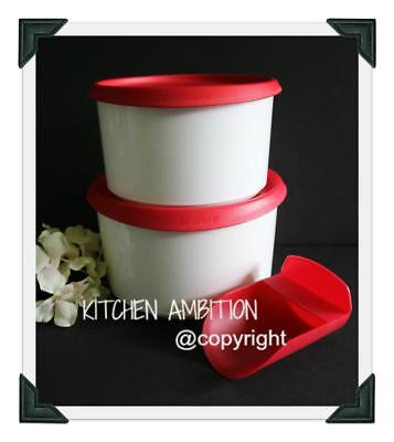 NEW TUPPERWARE Modular One Touch Canister Set Topper 2Qt & 1.5Qt Red CA11