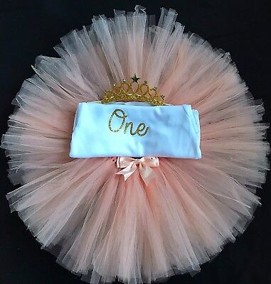 Girls First Birthday Outfit Peach Tutu Set Cake Smash Outfit Birthday Girl Dress