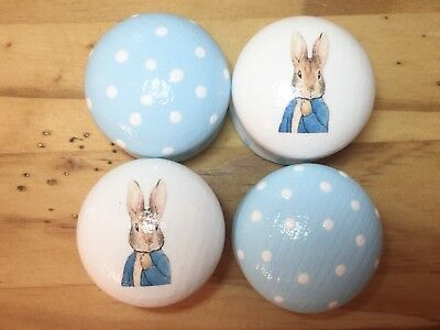 Hand Painted 4cm Drawer Knobs With Peter Rabbit Baby Boy Nursery Bedroom X4