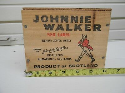 Wooden Shipping Crate JOHNNIE WALKER Red Label Scotch Whisky Scotland Small Box
