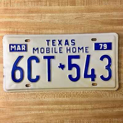 1979 Texas Mobile Home License Plate 6CT-543