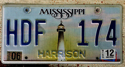 Mississippi Lighthouse License Plate HARRISON with a 2012 Sticker